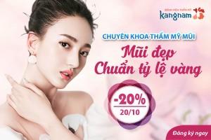 Chuyên khoa thẩm mỹ mũi Kangnam- Mũi đẹp chuẩn tỷ lệ vàng- OFF 20%